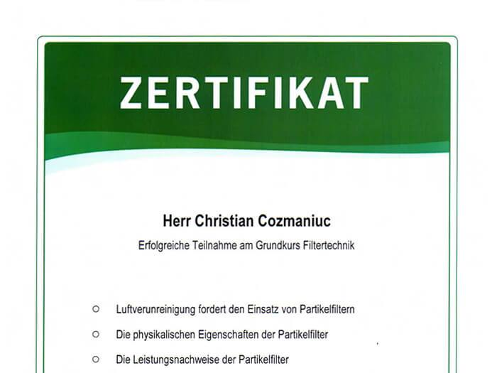 freshair crg filtertechnik zertifikat