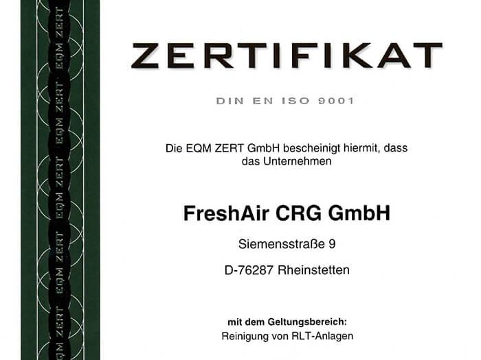 freshair crg iso 9001 zertifikat